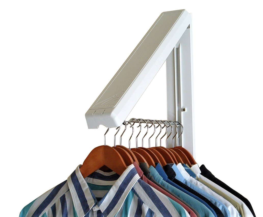 "InstaHanger The Original Folding Collapsible Triangular Wall Mounted Clothes Storage/Drying Rack with 12"" Hanging Rod for Laundry/Heavy Duty Clothes Storage - White ABS Plastic with SS Rod 2-PK"