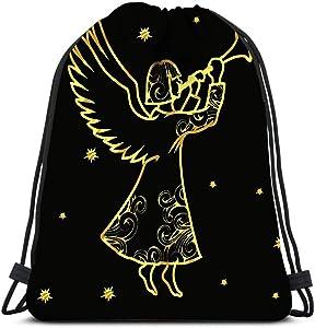 Drawstring Backpack Christmas Angel New Year Holiday Winter Character Laundry Bag Gym Yoga Bag