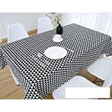 DW&HX Nordic Cotton Linen Table Cover Tablecloths Table Cloth Small Fresh Square Lattice Home Kitchen Easy Care Washable Tablecloth-U 120x180cm(47x71inch)