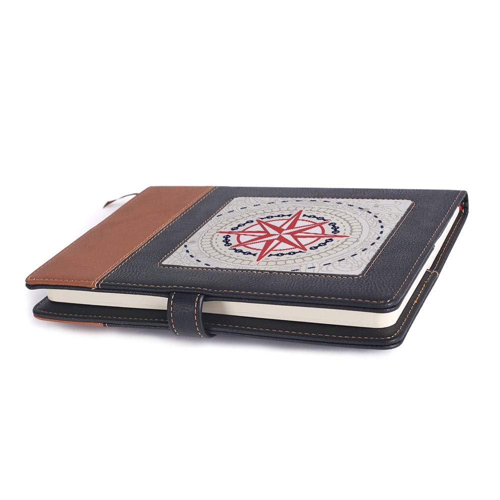 Environmental-friendly notebook,Compass,A5 ,for multiple purposes,Abstract Windrose with Marine Symbols Rope Chains Floral, 6.1 x 8.6