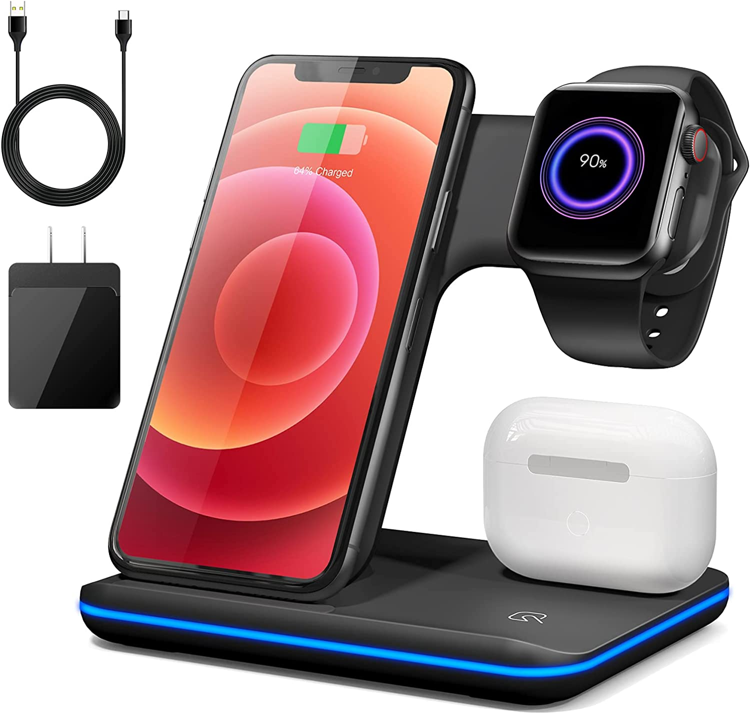 Wireless Charger Stand,3 in 1 Wireless Charging Station,15W Fast Charging Pad Dock for Apple Watch Series SE 6~2,AirPods,iPhone 12/11 Pro/X/Xr/Xs/8 Plus,Samsung,Qi-Certified Phones(with QC3.0 Adapter)