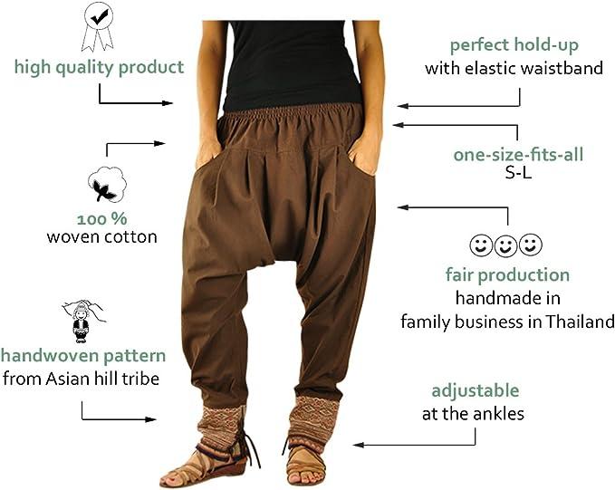 Virblatt Pantalones Cagados Mujer Como Ropa Etnica Para Una Moda Hippie En Talla Unica Pantalones Harem En Algodon Con Tejidos Tradicionales Y Comoda Cintura Elastica Malie Ropa Mujer