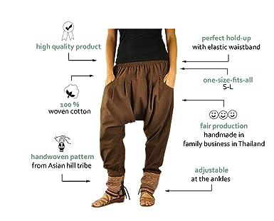 Talla única ropa hippie para hombres y mujeres, pantalones bombachos hombre y mujer en algodón con tejidos tradicionales y cómoda cintura elástica ...