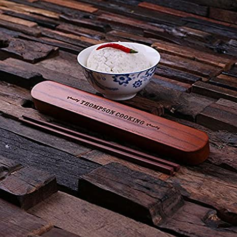 Dg Personalized Chopsticks Set With Engraved Wooden Case Customized Gift For Travelers Foodies Bride And Groom Mom And Dad