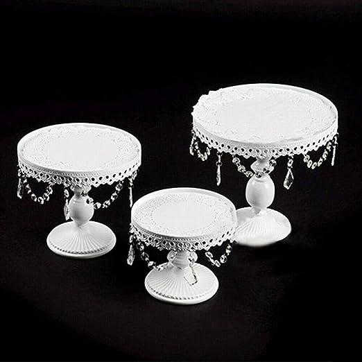 6pcs Set Crystal Decor Metal Cake Holder Wedding Dessert Stand Cupcake Plates