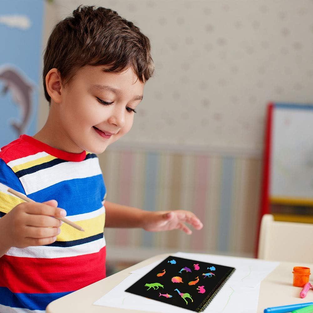 Best Gifts Tesoky 100pcs Create Rainbow Scratch Art for Kids