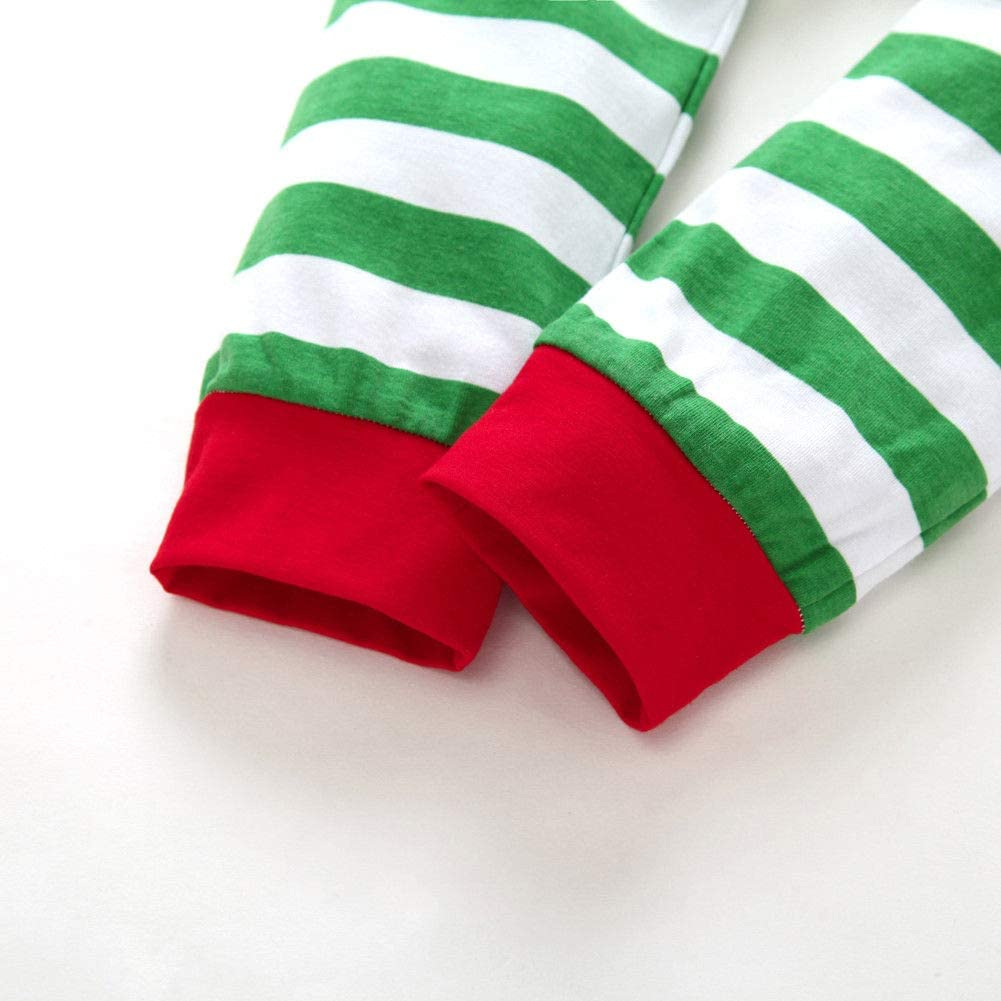 Baby Boy Girl Long Sleeve Striped Pajamas One Piece Bodysuit Button Down Sleepwear Homewear Xmas Set