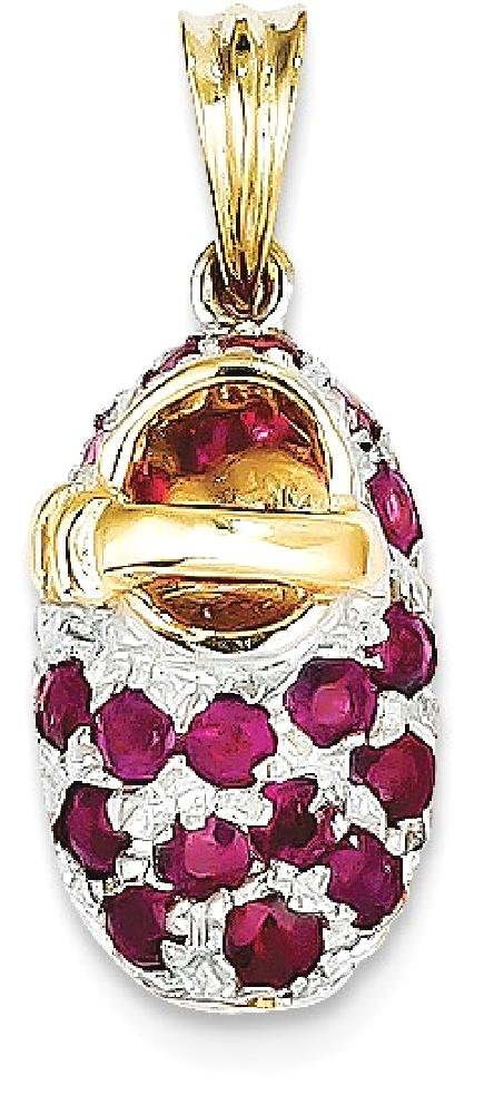 ICE CARATS 14k Yellow Gold Red Ruby Baby Shoe Pendant Charm Necklace Birthstone Fine Jewelry Gift Set For Women Heart