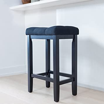 Wood Kitchen Counter Bar Stool - Backless Upholstered Saddle Seat 24 Inch - Black Cushion : saddle seat 24 inch counter stools - islam-shia.org