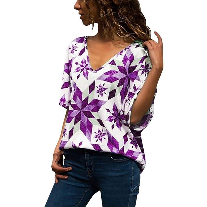 Camiseta Suelto de Moda para Mujer Tops Informal con Cuello ...
