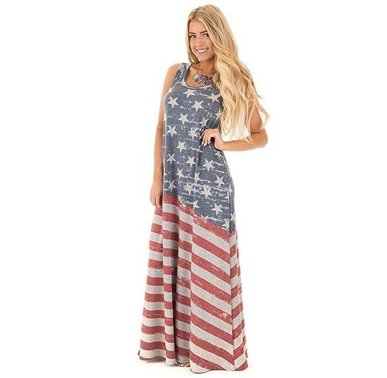 Amazon.com: ❤Gloous Womens Lady American flag printed large skirt ...