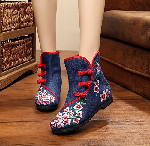 Warm Blue Boots increase Embroidery Cotton Gift Internal Products Art Winter HZAxRw