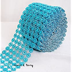 "Diamond Flower Shape Mesh Wrap Roll Faux Rhinestone Crystal Ribbon 4"" x 10 yards (30 ft) … (Turquoise)"