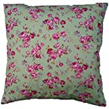 Lime Green Vintage Pink Floral 16' Cushion Cover Cottage Shabby Chic