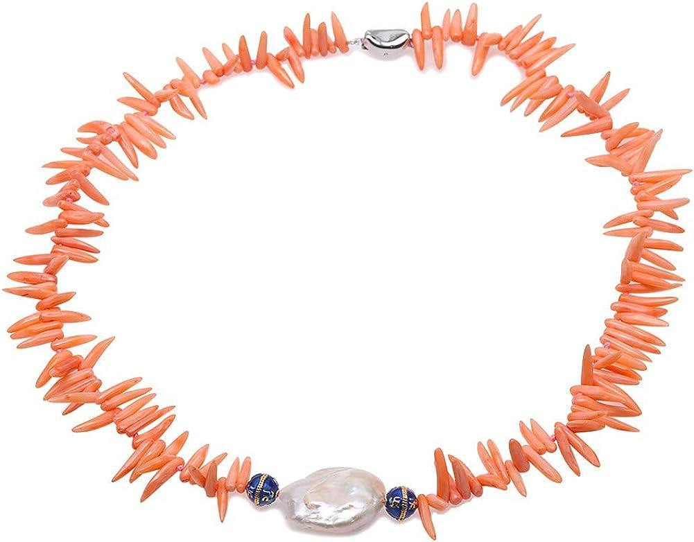 JYX - Collar de perlas de coral natural con palos de coral naranja y colgante de perla barroca blanca, 47 cm