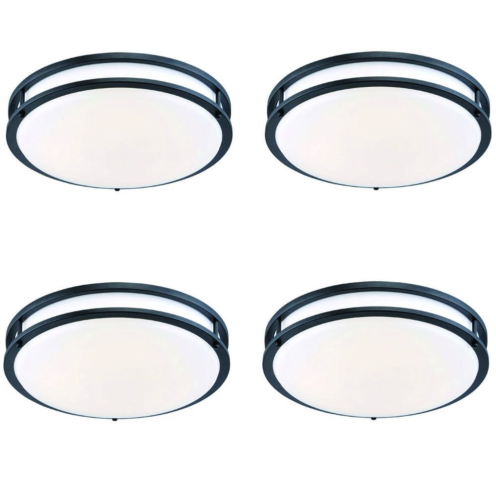 Designers Fountain EV1414LED-34D-4 14 In. Oil Rubbed Bronze/White Low-Profile Led Ceiling Light (4 Pack)