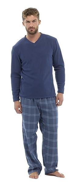 Conjunto de pijama para hombre, camiseta de forro polar y pantalón de franela