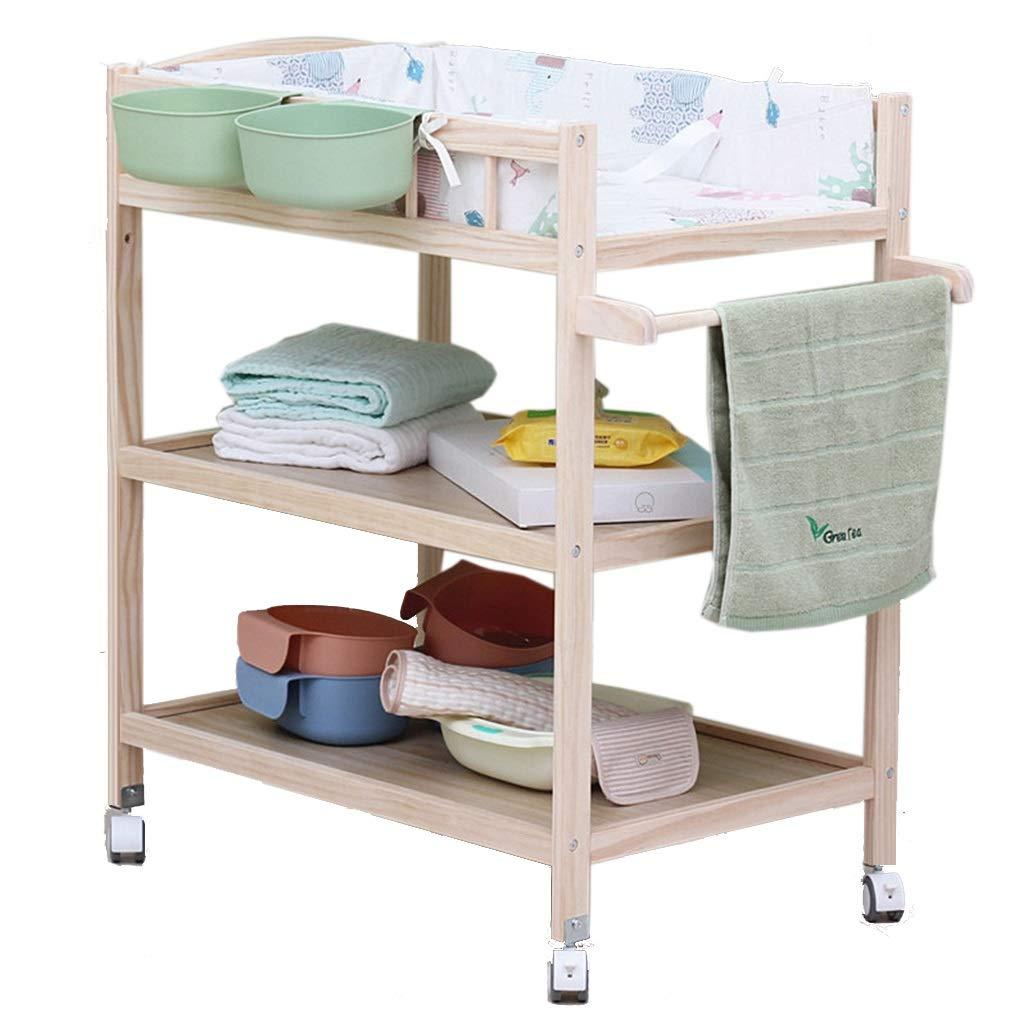 carico 60 kg Color : Green fasciatoio in Legno for Bambini con Ruote e ripiano WGE Fasciatoio Cassettiera Fasciatoio for Neonati//Neonato