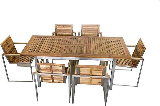 Jet-Line - Conjunto de Muebles de jardín Ares, Madera de Acacia y Acero Inoxidable SS304, Extensible, 150/200 cm, Madera: Amazon.es: Jardín