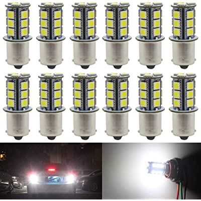 Alopee 12-Pack White 1156 BA15S 7506 1141 1003 1073 LED Light 12V-DC 5050 18SMD Car Replacement for RV Camper Interior Lighting Marine Cabin Boats Lighting Trailer Tail Backup Light: Automotive [5Bkhe2012147]