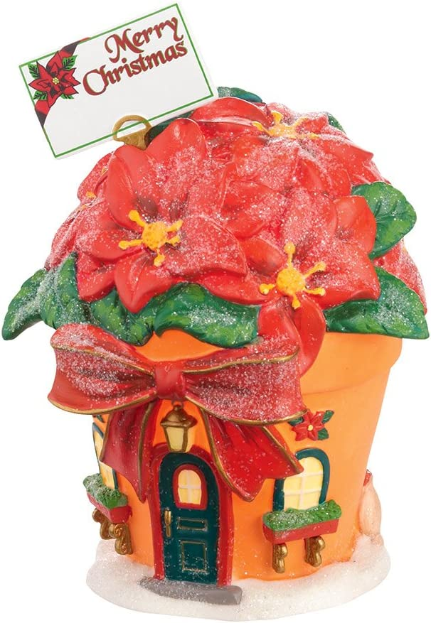 Department 56 North Pole Village Perry's Christmas Poinsettias Lit House, 6 inch