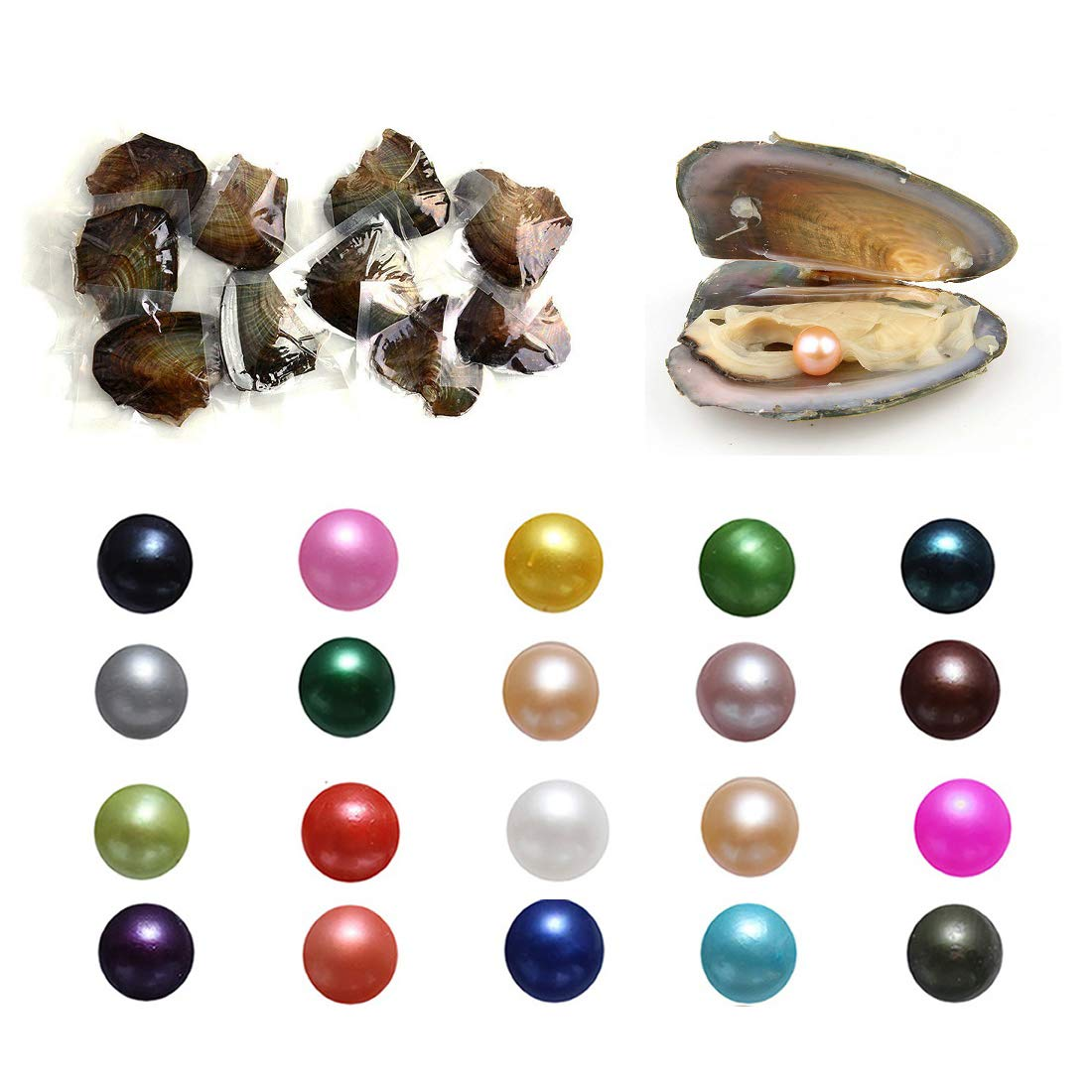 50PC Oysters with Pearls Inside, Freshwater Cultured Love Wish Pearl Oyster with Mixed Colors (7-8mm)