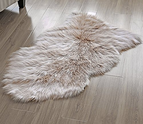 OJIA Deluxe Soft Faux Sheepskin Chair Cover Seat Pad Plain Shaggy Area Rugs For Bedroom Sofa Floor (2ft x 3ft, Light Coffee) - Colorful Places Seating Rug