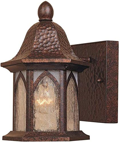 Designers Fountain 20601-BAC Berkshire – One Light Outdoor Wall Lantern, Burnished Antique Copper Finish with Clear and Frosted Seedy Glass