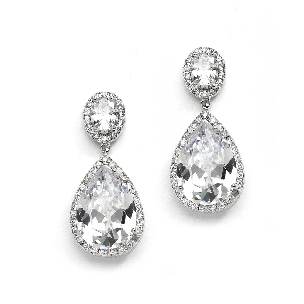 Mariell CZ Bridal Earrings with Oval-Cut Halo Tops and Bold Pear-Shaped Teardrop Dangles -Silver Rhodium