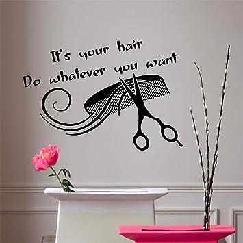 Sticker Mural Citation Cheveux Salon De Coiffure Peigne
