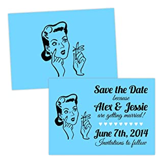 Personalised Save the Date cards RETRO REMINDER FREE DRAFT & FREE ENVELOPES (200, A5 double-sided Pearl or Textured card)