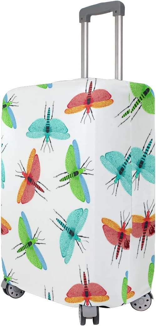 Red Dragonfly Earrings Cute Travel Luggage Protector Case Suitcase Protector For Man/&Woman Fits 18-32 Inch Luggage