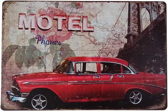 Vorcool Motel Téléphones Garage Garage Signes Décoratifs
