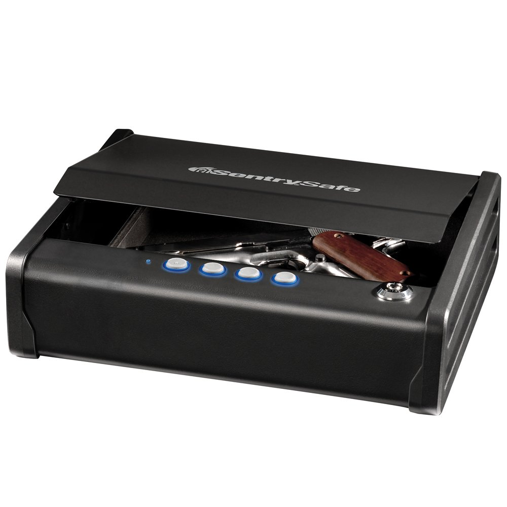 2. SentrySafe Pistol Safe, Quick Access Gun Safe, Digital Lock, One Pistol Capacity, QAP1E