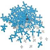 Confeti religioso de papel brillante de cruz azul