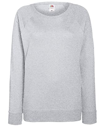 154c726f Fruit of the Loom Lady-fit lightweight raglan sweatshirt: Amazon.co.uk:  Clothing