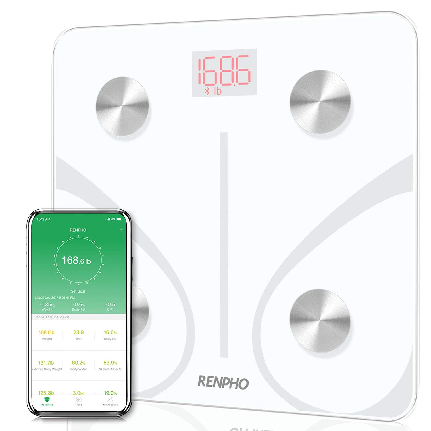 RENPHO Bluetooth Body Fat Scale Smart BMI Scale Digital Bathroom Wireless Weight Scale, Body Composition Analyzer with Smartphone App 396 lbs - White