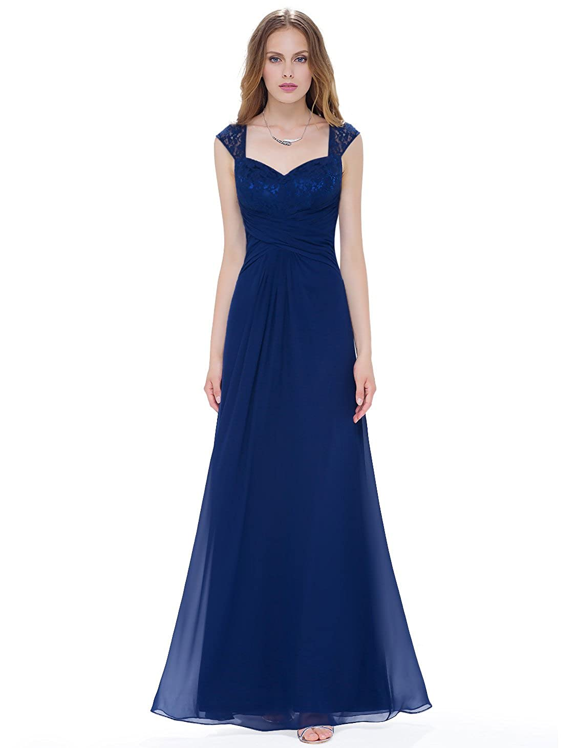 Ever-Pretty Women s Floor Length Ruched Evening Dress with Queen Anne  Neckline 08935 at Amazon Women s Clothing store  84f31cc164f7