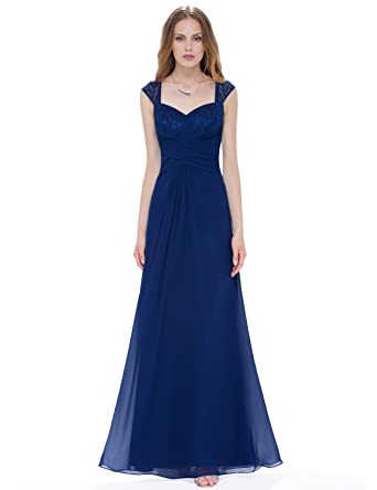 Ever-Pretty Women s Floor Length Ruched Evening Dress with Queen Anne  Neckline 08935 at Amazon Women s Clothing store  99af9731511f