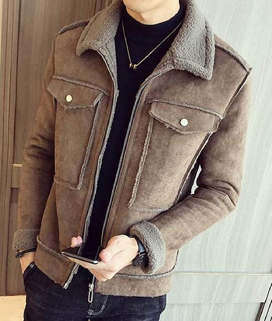 pipigo Mens Warm Winter Faux Suede Lamb Wool Lined Zip Front Quilted Jacket Coat Outerwear