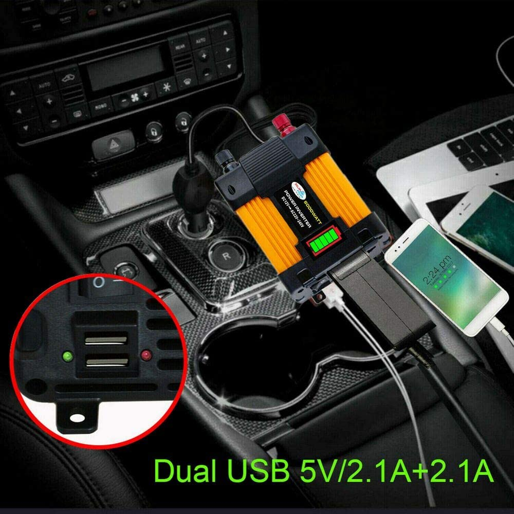 Laptops Computer 6000W Peaks Leistungsmodifizierter Sinus-Automotive-Konverter Zwei USB-Anschl/üsse f/ür Mobiltelefone Car Power Inverter Kameras DC12V-AC220V