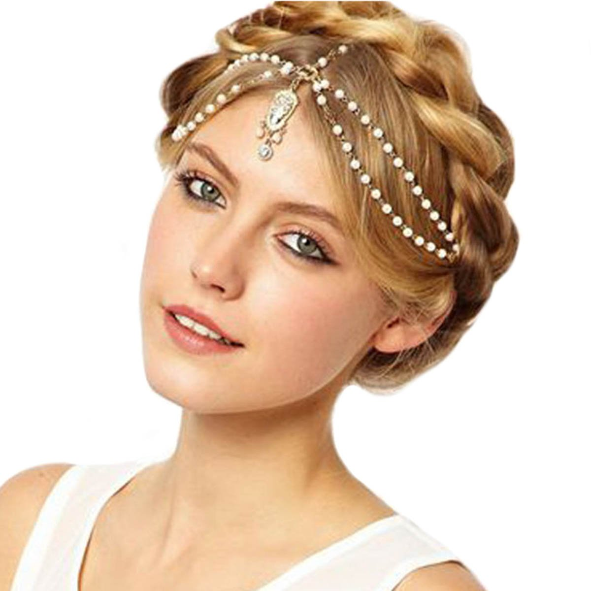 Aukmla White Indian Chain Hair Jewelry Boho