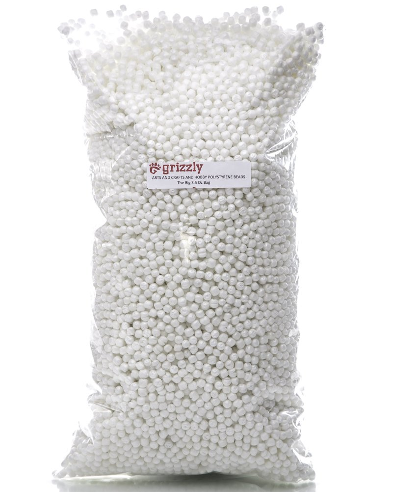 amazoncom grizzly polystyrene beads for arts crafts hobbies and sewing the big 35 oz bag for stuffed animals dolls pillows pet beds crafts - Polystyrene Beads