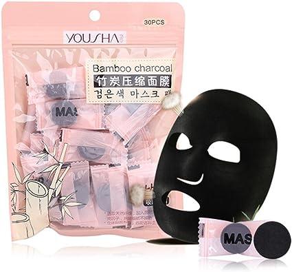 FrCOLOR 30 piezas comprimido facial hoja máscara negro carbón algodón máscara hogar DIY cuidado de la piel: Amazon.es: Belleza