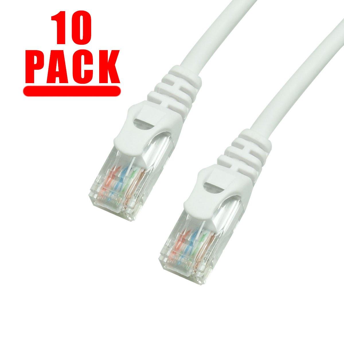 Grandmax 10 Pack - CAT5e, RJ45, 350MHz, UTP Ethernet Network Patch Cable Snagless/Molded Ferrari Boot/ 1FT/ White