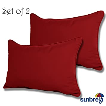 SET OF 2 Sunbrella Outdoor/Indoor LUMBAR PILLOWS By Comfort Classics Inc.