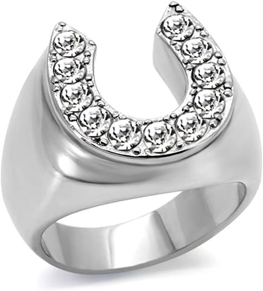 Marimor Jewelry Men's 1.26CT Cubic Zirconia Stainless Steel 316 Silver Horseshoe Ring SZ 8-13