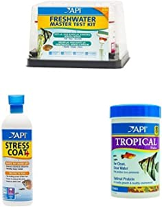 API Freshwater Aquarium Essentials Kit for Clean Water & Healthy Fish: (1) API FRESHWATER MASTER TEST KIT, (1) API STRESS COAT 16-Ounce, (1) API TROPICAL FLAKES 5.7-Ounce