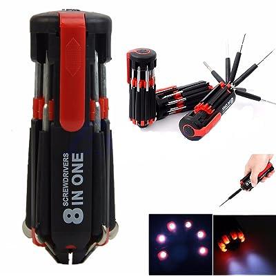 Quici 8en 1Multi Portable de outils à main de tournevis avec 6LED Lampe de poche lampe de poche lampe