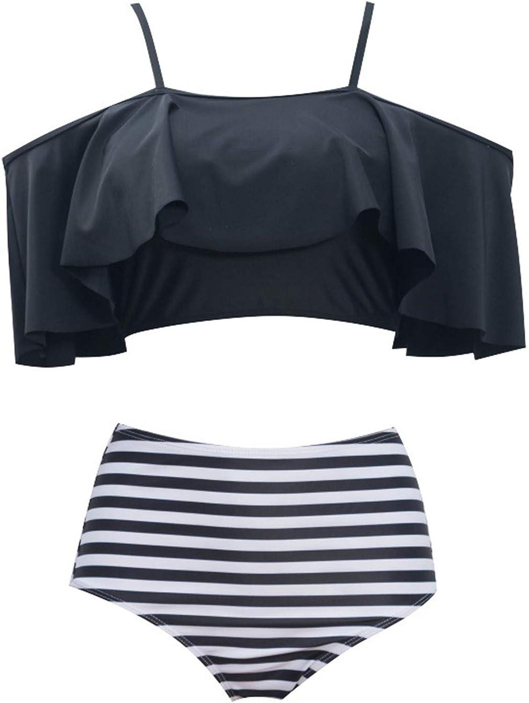 Septangle Womens Two Piece Ruffled Swimsuit Retro High Waisted Bikini Sets